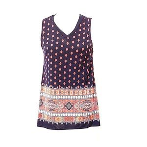 Navy Blue And Red Pattern Sleeveless Blouse